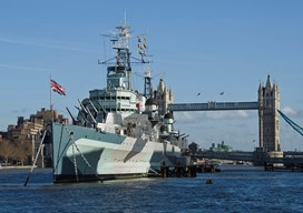 hms belfast moored on the river thames