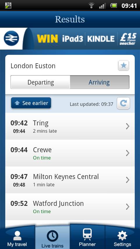 NRE App - Live Trains - departure / arrival information for your station(s)