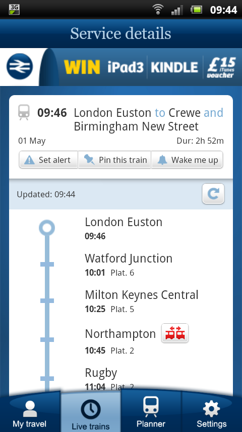 NRE App - Live Trains - detailed stopping information for your train including splitting / joining stations