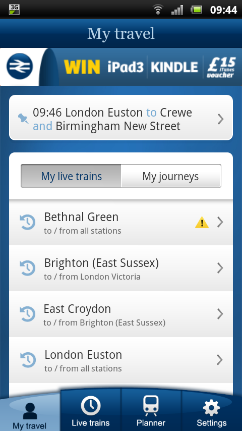 NRE App - My Travel showing favourite / recent & pinned journeys