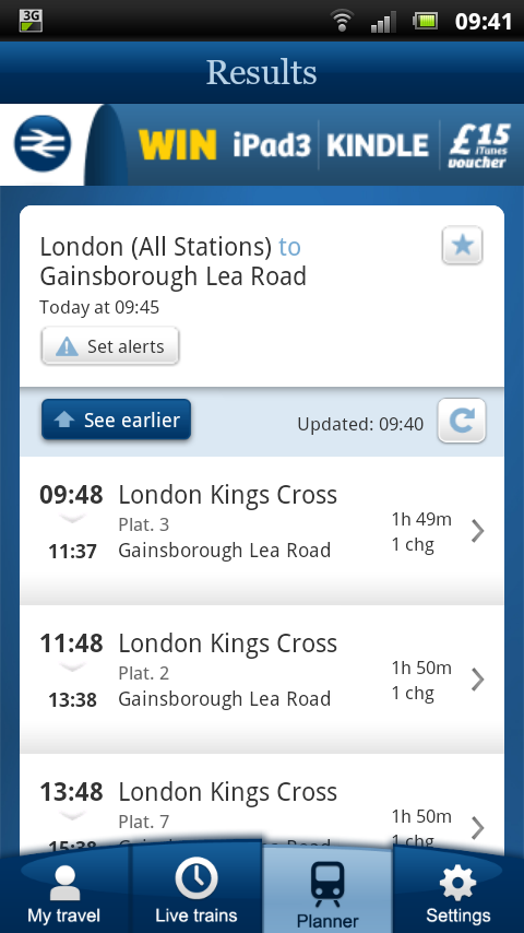 NRE App - Planner - journey planning results with known delays & cancellations taken into account