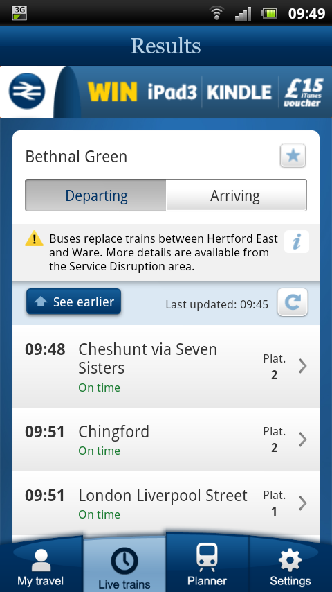 NRE App - Service disruption information is integrated into the Live Trains and Planner results